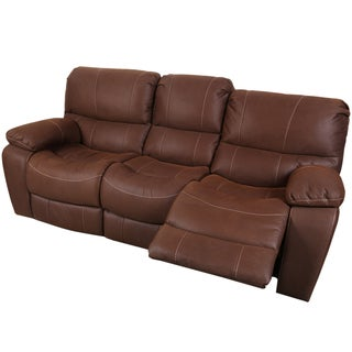 Porter Ramsey Brown Embossed Microfiber Dual Reclining Sofa
