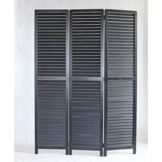 Louvertie Black Bamboo Wood 3-panel Screen