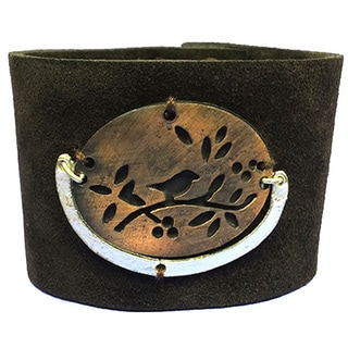 Bird Metal Plaque Leather Bracelt