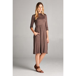 Spicy Mix Yasmine Charcoal Spandex 3/4-sleeve High-neck Midi Dress (4 options available)