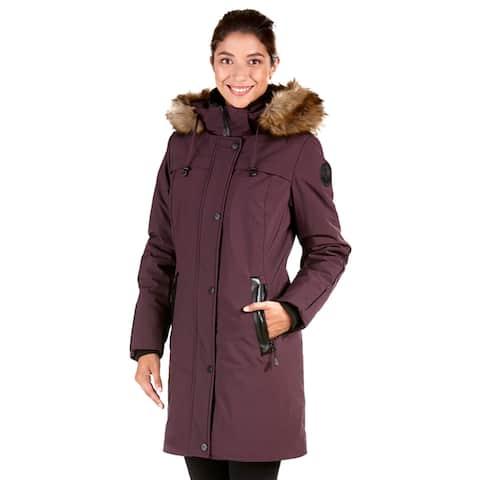 Women's Dania Blue/Grey/Purple Polyester/Spandex Polyfil Coat