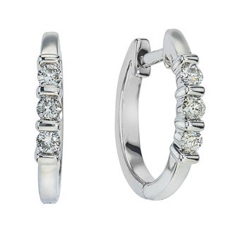 10k White Gold 1/5ct TDW Diamond Small Hoops by Ever One (H-I, I2-I3)