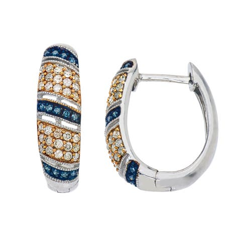 Sterling Silver Natural Champagne and Blue Diamond Hoops