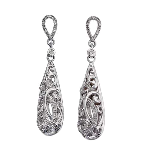 Sterling Silver 1/5ct TDW Diamond Drop Earrings By Ever One