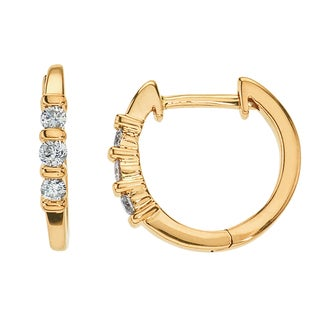 10k Yellow Gold 1/5ct TDW Diamond Small Hoops By Ever One (H-I, I2-I3)