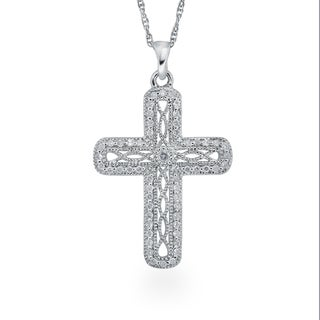 Sterling Silver 1/4ct TDW Diamond Antique Cross Pendant By Ever One (H-I, I2-I3)