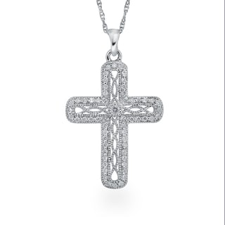 Sterling Silver 1/4ct TDW Diamond Antique Cross Pendant By Ever One