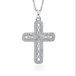 Sterling Silver 1/4ct TDW Diamond Antique Cross Pendant By Ever One|https://ak1.ostkcdn.com/images/products/12802011/P19572158.jpg?impolicy=medium