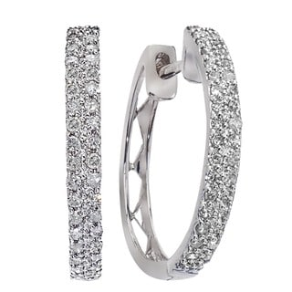 10k White Gold 2/5ct TDW Diamond Hoops By Ever One (H-I, I2-I3)