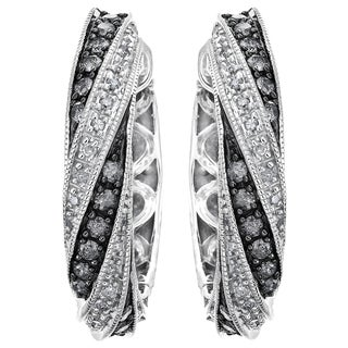 Sterling Silver Black Rhodium 3/4ct TDW White and Silvermist Diamond Hoops By Ever One (H-I, I1-I2)
