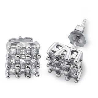 10k White Gold 1/2ct TDW Diamond Checkerboard Square Stud Earrings By Ever One (H-I, I2-I3)
