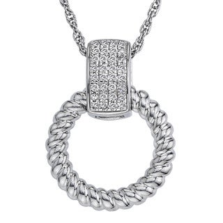 Sterling Silver 1/10ct TDW Diamond Circle Pendant By Ever One (H-I, I2-I3)