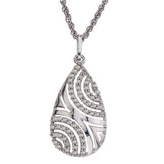 Sterling Silver 1/4ct TDW Diamond Drop Necklace (H-I, I2-I3)