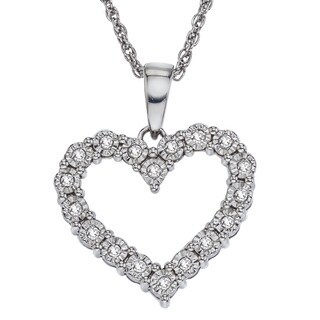 Sterling Silver 1/5ct TDW Diamond Heart Necklace By Ever One (H-I, I2-I3)