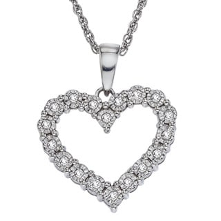 Sterling Silver 1/5ct TDW Diamond Heart Necklace (H-I, I2-I3)