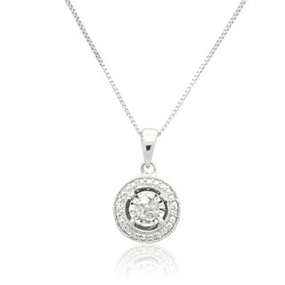 1/10 cttw Diamond Solitaire Look Pendant Necklace in Sterling Silver