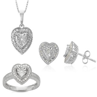 0.30 CTTW Diamond Heart Solitaire Set in Sterling Silver