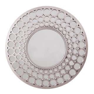 Wee's Beyond Diamond Pewter Finish 25-inch Round Wall Mirror