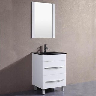 Shop 24 inch belvedere modern white freestanding bathroom vanity free shipping today for Freestanding 24 inch bathroom vanity