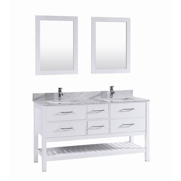 60 Inch Belvedere White Double Sink Vanity With Marble Top Backsplash