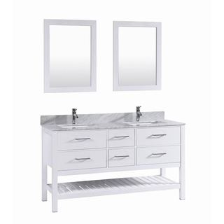60 inch Belvedere White Double Sink Vanity with Marble Top & Backsplash