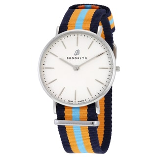 Brooklyn Watch Co. Flatland Men's Stainless Steel Casual Swiss Watch with Super Slim Multi-colored Canvas Strap
