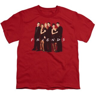 Friends/Cast in Black Short Sleeve Youth 18/1 Red