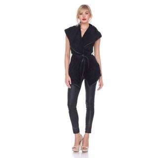 Stanzino Women's Faux Fur Wide Collar Vest with Belt