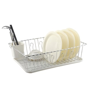 Metal and Plastic Large Dish Drainer (3-piece Set)