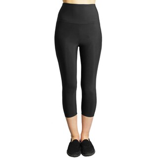 Slim Black Moisturizing Compression High-waist Capri Leggings