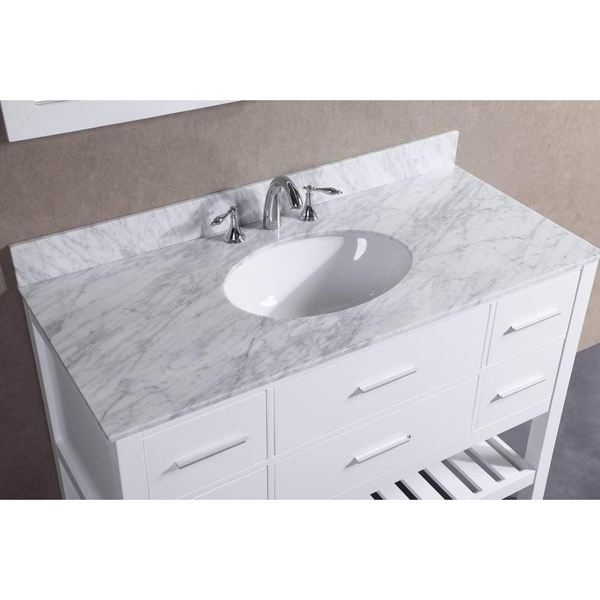 48 Inch Belvedere White Bathroom Vanity With Marble Top And Backsplash    Free Shipping Today   Overstock.com   19572235