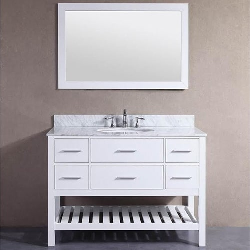 Shop 48-inch Belvedere White Bathroom Vanity with Marble Top and Backsplash - Free Shipping Today - Overstock - 12802232