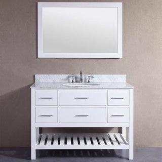 48inch belvedere white bathroom vanity with marble top and backsplash