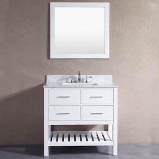 Belvedere London White 36 Inch Bathroom Vanity With Marble Top And Backsplash Free Shipping