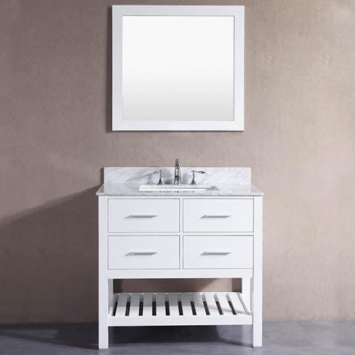 Belvedere London White 36 Inch Bathroom Vanity With Marble Top And  Backsplash