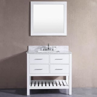 Belvedere London White 36-inch Bathroom Vanity with Marble Top and Backsplash