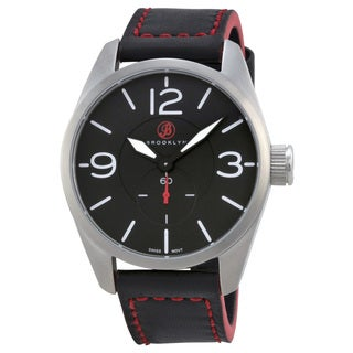 Brooklyn Watch Company Lafayette Black Dial Black Red Accent Leather Swiss Quartz Men's Watch