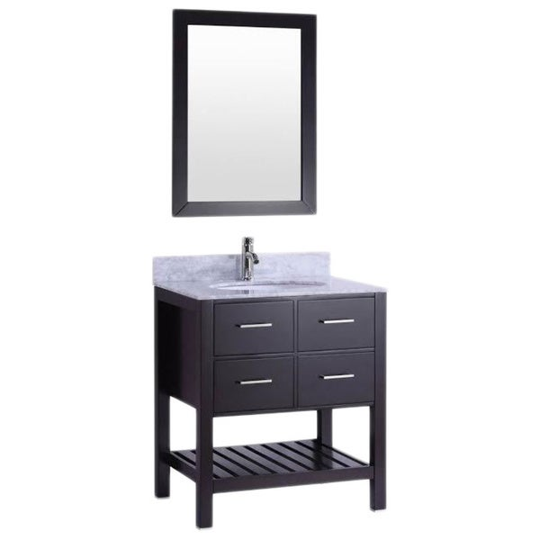 Belvedere Espresso Colored Wood 30 Inch Bathroom Vanity With Marble Top Backsplash Free