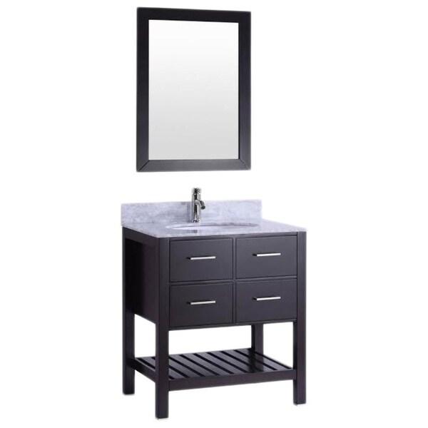 Belvedere Espresso-colored Wood 30-inch Bathroom Vanity with Marble Top & Backsplash