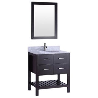 Belvedere Espresso-colored Wood 30-inch Bathroom Vanity with Marble Top & Backsplash