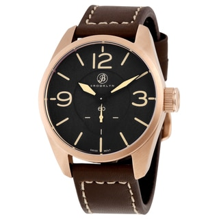 Brooklyn Watch Co. Lafayette Men's Rose Goldtone Watch with Brown Leather Strap