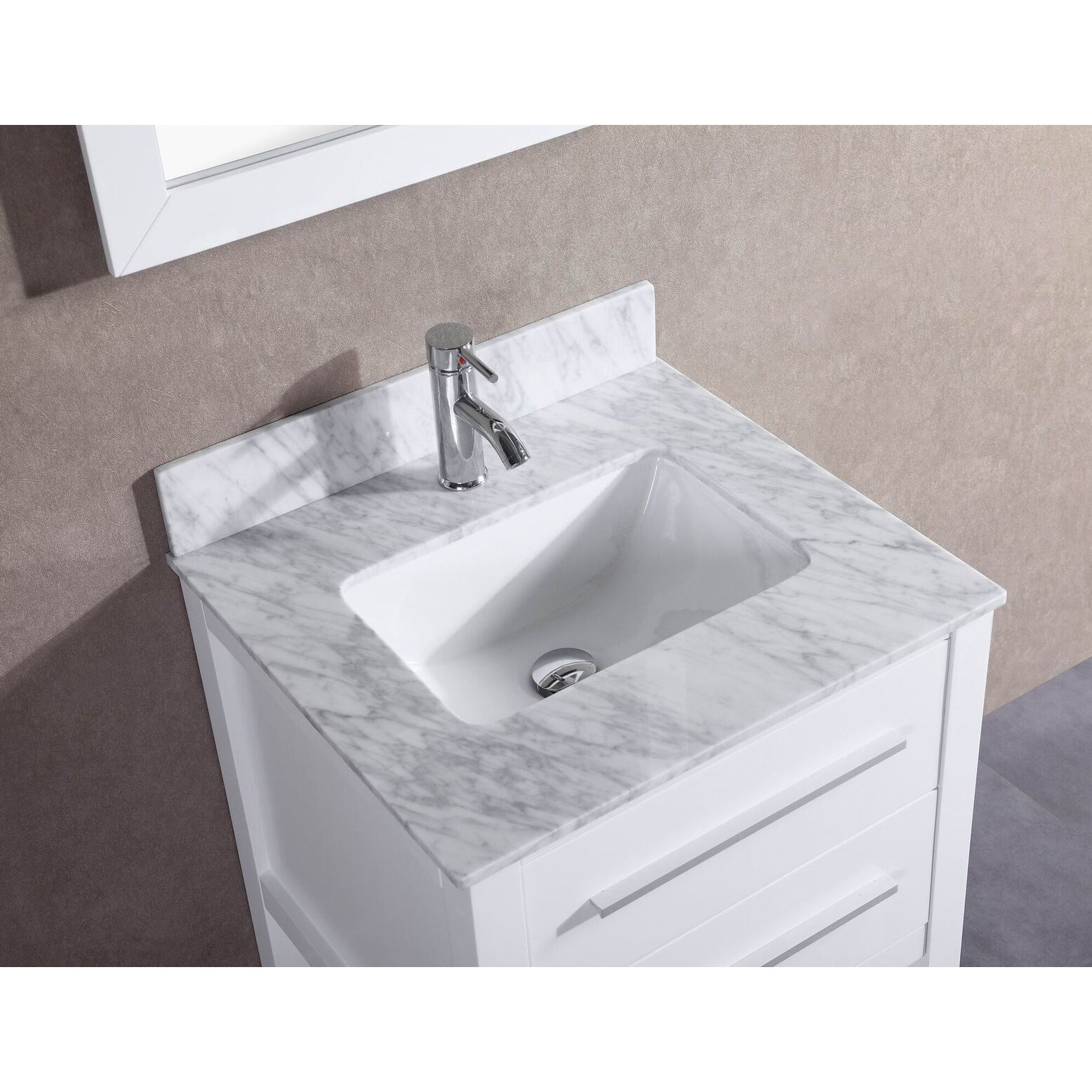 Shop 24 Inch Belvedere White Bathroom Vanity With Marble Top And
