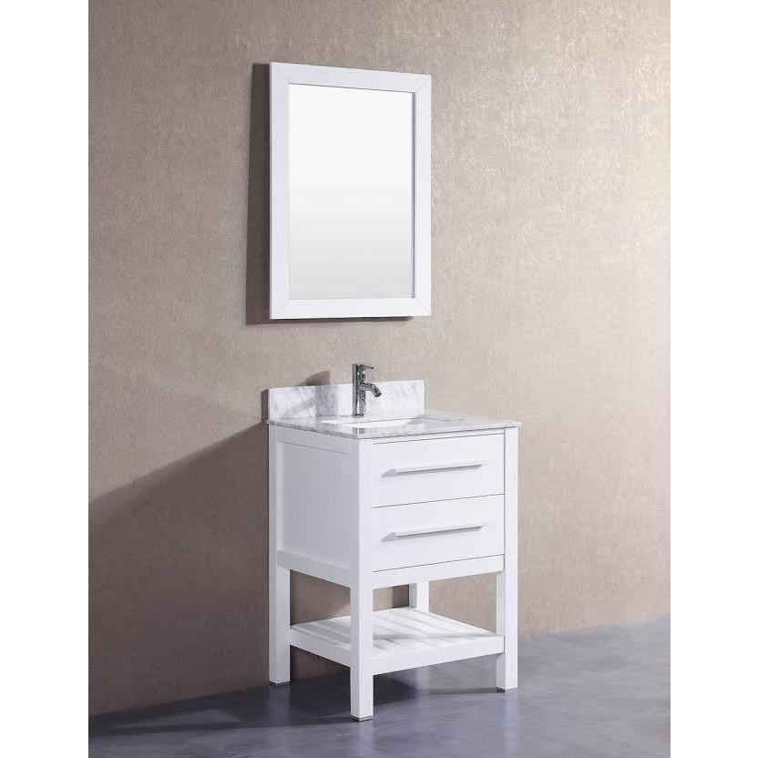 24-inch Belvedere White Bathroom Vanity with Marble Top ...