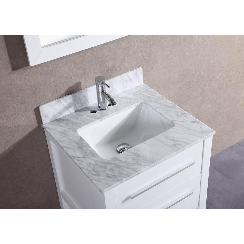 Beau 24 Inch Belvedere White Bathroom Vanity With Marble Top And Backsplash