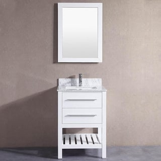 24 inch Belvedere White Bathroom Vanity with Marble Top & Backsplash