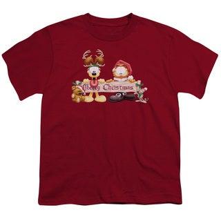 Garfield/Christmas Banner Short Sleeve Youth 18/1 Cardinal