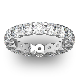 14 Karat White Gold 4 Carat Diamond Eternity Ring - White I-J