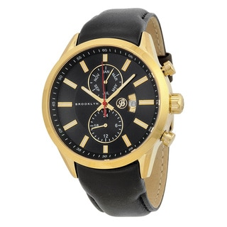 Brooklyn Watch Co. Fulton Men's Black/ Gold Stainless Steel Swiss Quartz Watch with Leather Strap