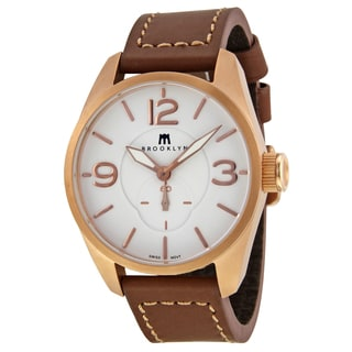 Lafayette Men's White/Brown Stainless Steel/Leather White Dial Rose-goldtone Watch