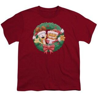 Garfield/Christmas Wreath Short Sleeve Youth 18/1 Cardinal
